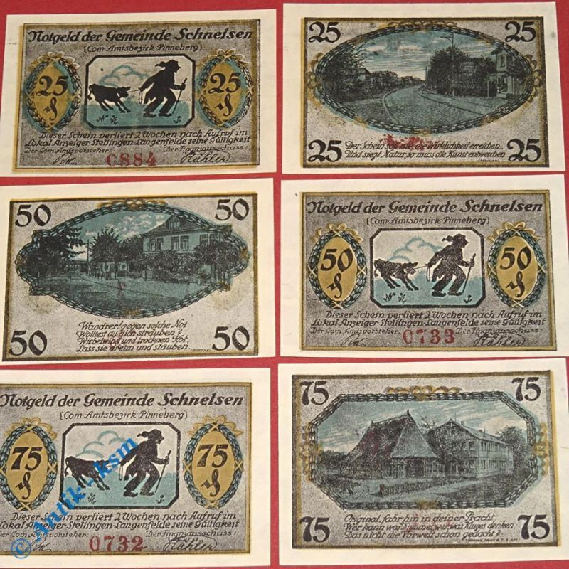 6 x Notgeld Schnelsen , Hamburg , german emergency money , M/G 1192.1 , kfr/unc