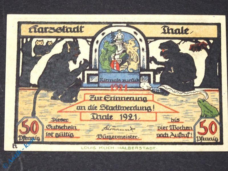 Top Notgeld Thale , 50 Pfennig Schein h mit Partie Bode , M/G 1320.15 B kfr/unc