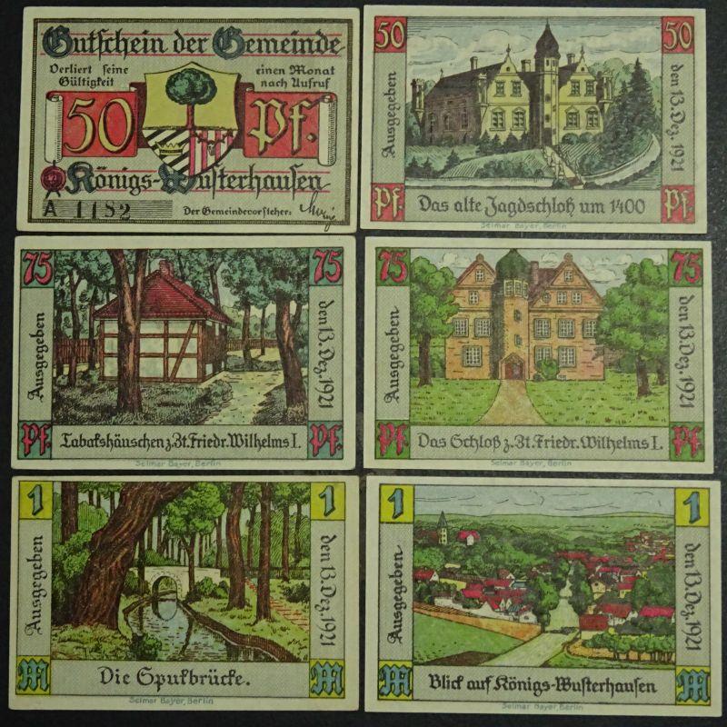 A  6 x Top Notgeld Königs - Wusterhausen, 6 Scheine komplett,  kfr/unc