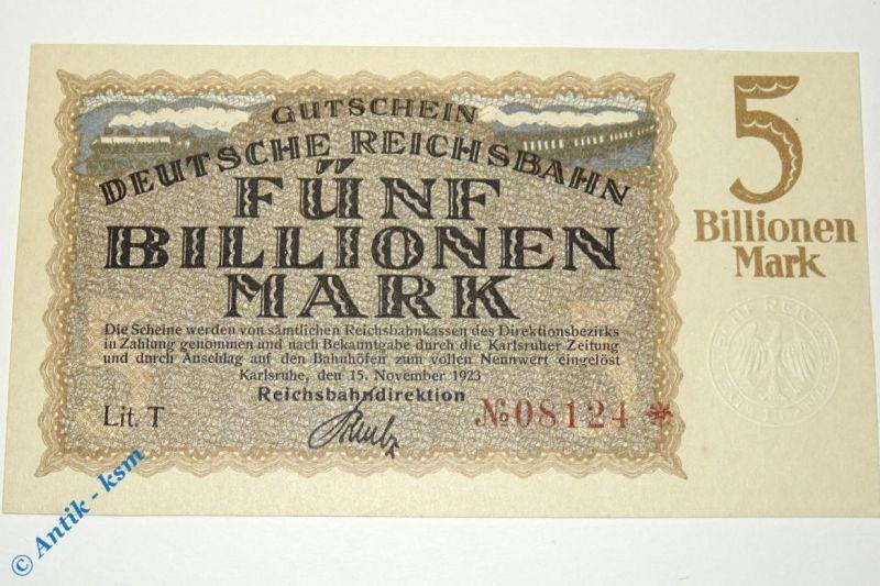 Banknote über 5 Billionen Mark , Karlsruhe  vom 15.11.1923 , Pick S1279  kfr
