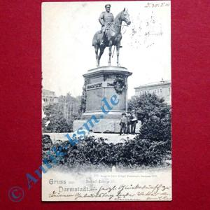 B  Postkarte Ansichtskarte Darmstadt, Motiv: Ludwig der IV , gelaufen 1900