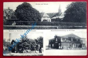 A Postkarte Ansichtskarte Schlichting, Bäckerei, Kolonialwaren, Schule gel.1914
