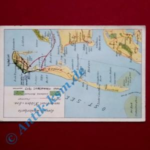 A Postkarte Ansichtskarte Insel Hiddensee, Motiv: spezial Wanderkarte, gel. 1937