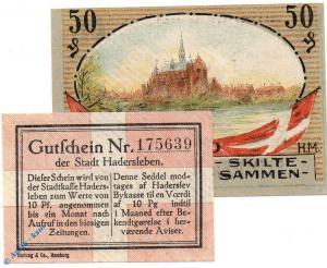 Notgeld Hadersleben , Set mit 2 Scheinen , Tieste 2695.10.25 und 26 , 1920 , unc