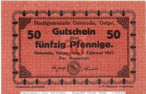 Notgeld Osterode , 50 Pfennig Musterschein o. Kn. in kfr. Tieste 5460.10.20.M