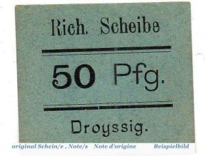 Notgeld Droyssig , R. Scheibe 50 Pfennig Schein in kfr. Tieste 1510.10. ,  unc