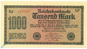 Banknote über 1000 Reichsmark , Wz Dornen , DEU-85 c , P 76 , von 1922 , Weim. R