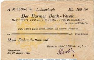 Banknote Wipperfürth , Radium 200.000 Mark Schein in gbr. Keller n. gef. 5657.?
