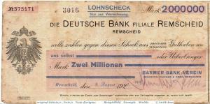 Banknote Remscheid , Barmer Bank 2 Millionen Mark Schein in gbr. Keller 4518.f