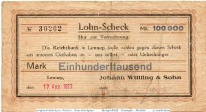 Banknote Lennep , Wülfing & Sohn 100.000 Mark Schein in gbr. Keller 3214. ??