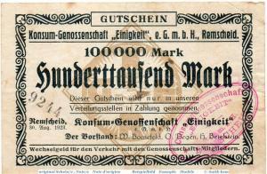 Banknote Remscheid , K. G. Einigkeit 100.000 Mark Schein in gbr. Keller 4528.d