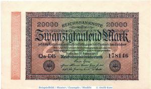 Reichsbanknote , 20.000 Mark Schein in kfr. Hakensterne , DEU-95 , Ros.84 , P.85