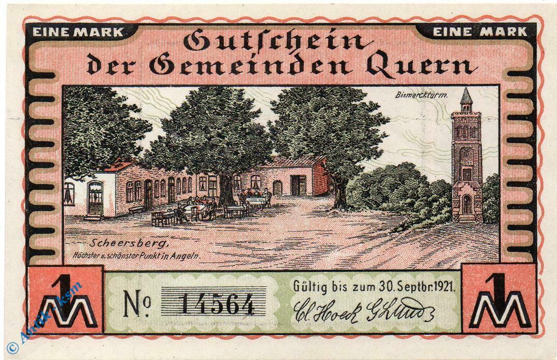 Notgeld Quern , 1 Mark Schein , Mehl Grabowski 1091.2 , Schleswig Holstein  unc 0