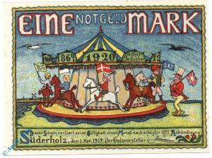Notgeld Süderholz , Sonderskov , 1 Mark Schein , Mehl Grabowski 1298.1 b ,  unc