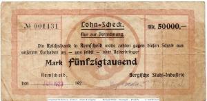 Banknote Remscheid , Stahl-Industrie 50.000 Mark Schein in gbr. Keller 4520.s
