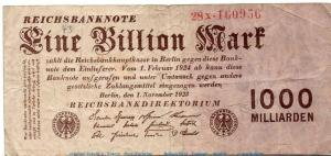 Reichsbanknote , 1 Billion Mark Schein in gbr. DEU-155 b , Rosenb 126 , P 129