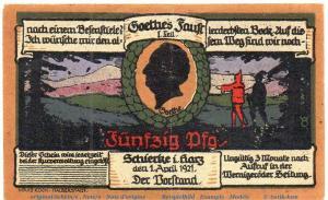 Notgeld Schierke 1179.1.b , 50 Pfennig Nr 2  Musterschein Ohne Kennummer  f-kfr.