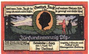 Notgeld Schierke 1179.1.b , 25 Pfennig Nr 1  Musterschein Ohne Kennummer in kfr.
