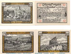 Notgeld Gemeinde Rieder , 1122.1 Set mit 4 Scheinen in kfr. von 1921 , kfr./unc