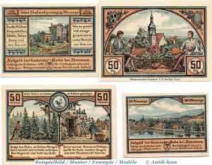 4 x Notgeld Roda bei Ilmenau , 1128.1 Set mit 4 Scheinen in kfr. von 1921 , unc