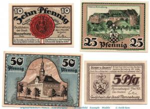 4 x Notgeld der Stadt Ronneburg , 1133.1 Set mit 4 Scheinen in kfr. / unc