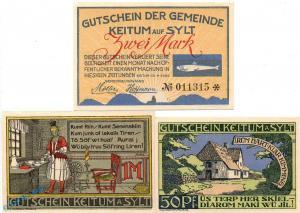 Notgeld Keitum Sylt , 685.1 Set mit 3 Scheinen in kfr. von 1920 , Schleswig  unc