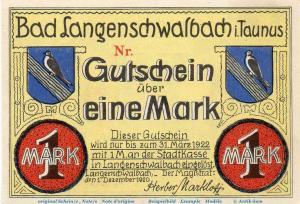 Notgeld Stadt Langenschwalbach 771.2 , 1 Mark Musterschein o. Kn.  nicht geführt