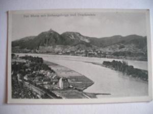 Alte AK Der Rhein mit Siebengebirge und Drachenfels  [73]
