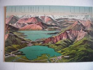 Alte AK Kochelsee u. Walchensee samt Gebirgskette Vogelschau [80]