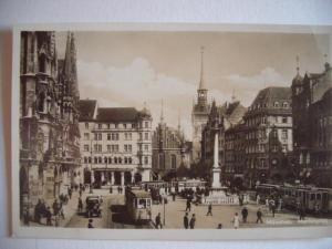 Alte AK München Marienplatz mit Straßenbahn [82]