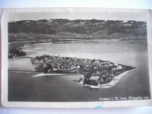 Alte AK Lindau im Bodensee vom Flugzeug aus Fliegeraufnahme [128]