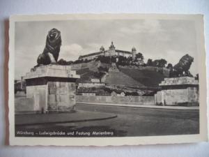 Alte AK Würzburg Ludwigsbrücke Festung Marienberg [133]