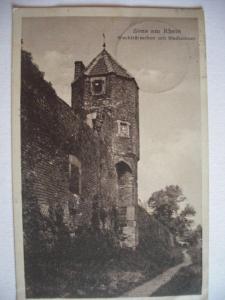 Alte AK Zons am Rhein Wachttürmchen Stadtmauer [154]
