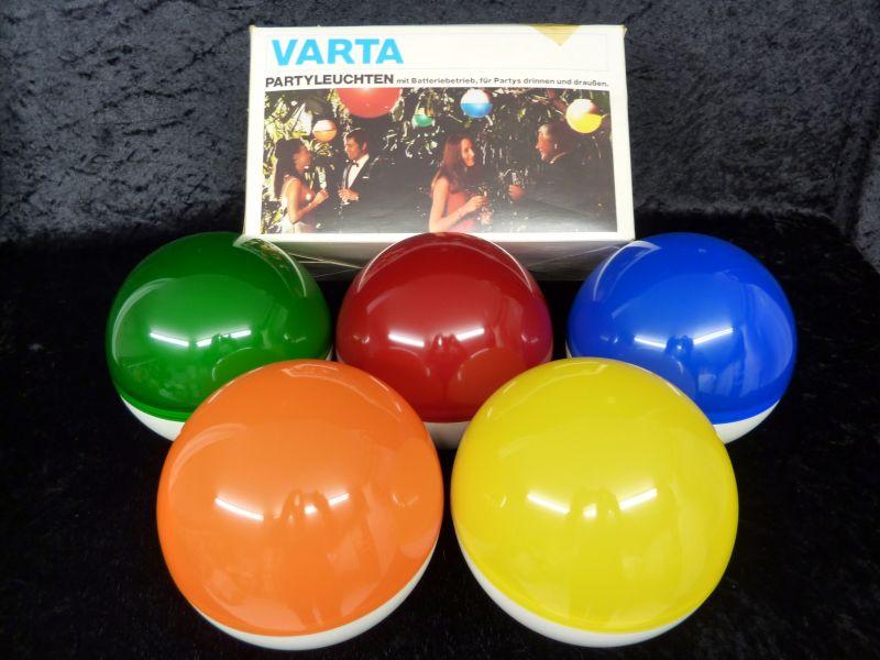 VARTA Partyleuchten, Batteriebetrieb, drinnen & draußen, 70er Jahre
