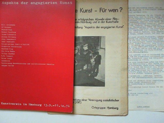 Kunstverein in Hamburg (Hg.): Aspekte der engagierten Kunst. Ausstellungskatalog. Mit BEIGABE: Engagierte Kunst - Für wen? Ausstellung: Kunstverein in Hamburg 13.9.-11.10.74 und Tübingen 26.10.-1.12.74.