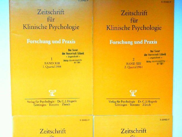Hogrefe, Carl-Jürgen (Red.), U. Baumann (Hg.) und B. Dahme; K. Grawe; H. Häfner; H. Remschmidt (Mitherausgeber): Zeitschrift für Klinische Psychologie. Forschung und Praxis. Band XIII (1984) komplett in vier Heften zusammen.