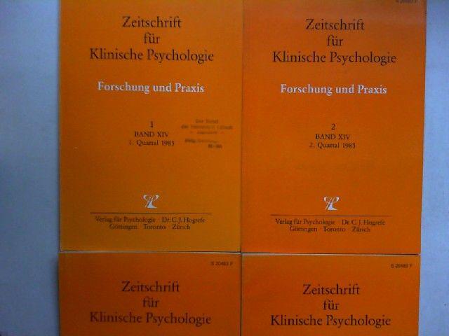 Hogrefe, Carl-Jürgen (Red.), U. Baumann (Hg.) und B. Dahme; K. Grawe; H. Häfner; H. Remschmidt (Mitherausgeber): Zeitschrift für Klinische Psychologie. Forschung und Praxis. Band XIV (1985) komplett in vier Heften zusammen.