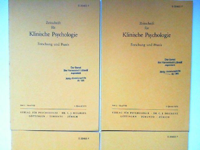 Hogrefe, Carl-Jürgen (Red.) und H. Heimann; E. Duhm; G. Guttmann; R. Cohen; P. Gottwald; R. Tausch (Hg.): Zeitschrift für Klinische Psychologie. Forschung und Praxis. Band VIII (1979) komplett in vier Heften zusammen.