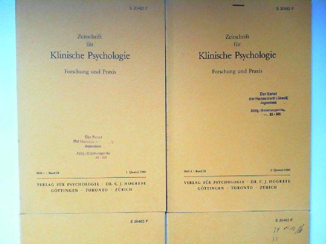 Hogrefe, Carl-Jürgen (Red.) und H. Heimann; E. Duhm; G. Guttmann; R. Cohen; P. Gottwald; R. Tausch (Hg.): Zeitschrift für Klinische Psychologie. Forschung und Praxis. Band IX (1980) komplett in vier Heften zusammen.