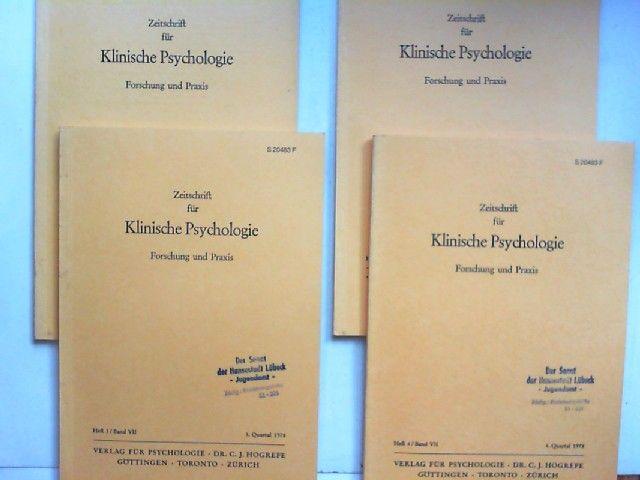 Hogrefe, Carl-Jürgen (Red.) und J. Angst; E. Duhm; G. Guttmann; R. Cohen; P. Gottwald; R. Tausch (Hg.): Zeitschrift für Klinische Psychologie. Forschung und Praxis. Band VII (1978) komplett in vier Heften zusammen.