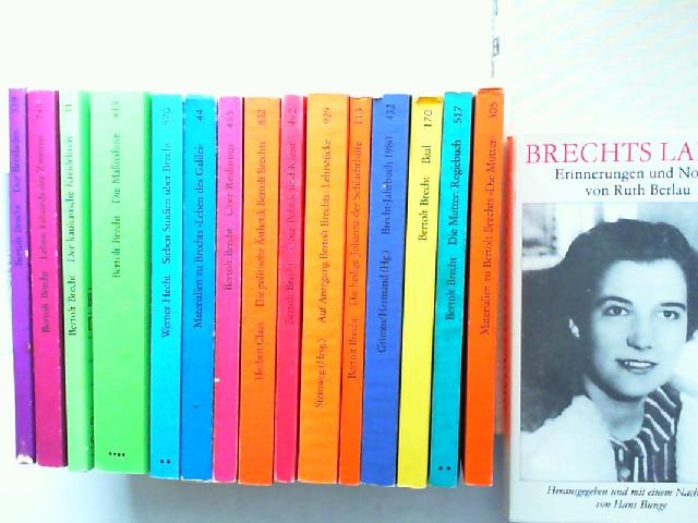 Brecht, Bertolt und Reiner Steinweg (Hg,); Werner Hecht; Herbert Claas; Reinhold Grimm (Hg.); Jost Hermand (Hg.): Edition Suhrkamp zu Bertolt Brecht - 15 Bücher und zwei Zugaben zusammen: 1) Der Brotladen. Stückfragment (339); 2) Leben Eduards des Zwei...