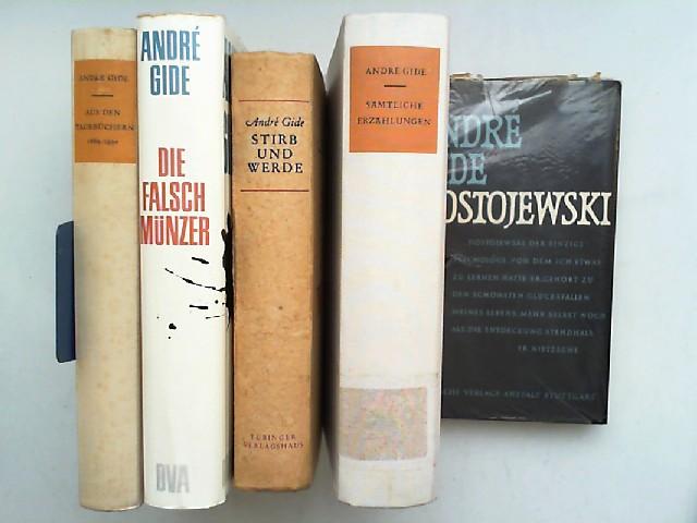 Gide, André: André Gide - Fünf Bücher zusammen: 1) Dostojewski; 2) Stirb und werde; 3) Die Falschmünzer; 4) Aus den Tagebüchern 1889 - 1939; 5) Sämtliche Erzählungen.