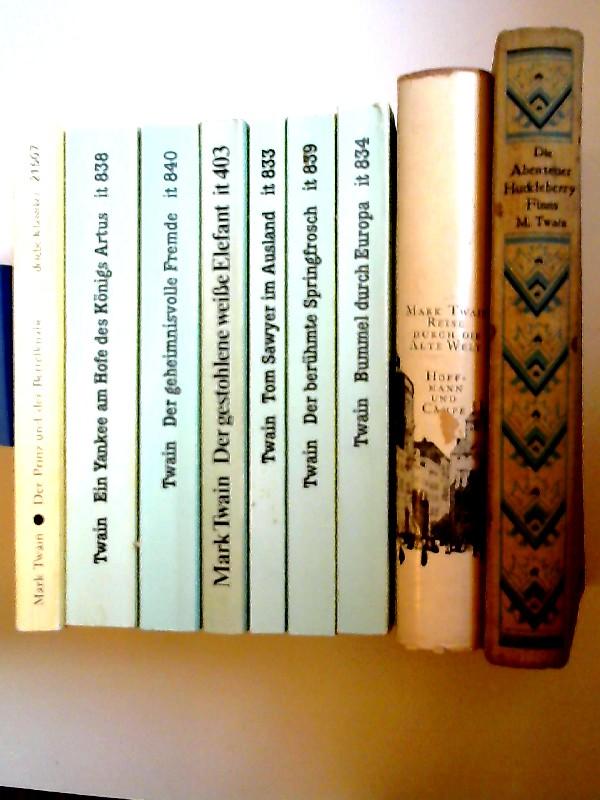Twain, Mark: Mark Twain - neun Bücher zusammen: 1) Der Prinz und der Bettelknabe; 2) Ein Yankee am Hofe des Königs Artus. Gesammelte Werke Band 8; 3) Der geheimnisvolle Fremde und andere Erzählungen. Gesammelte Werke Band 10; 4) Der gestohlene weiße El...