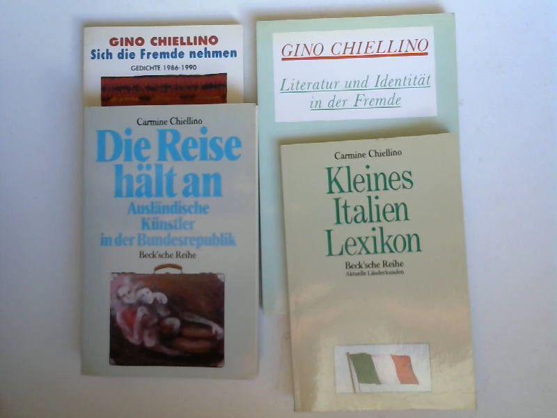 Chiellino, Carmine: 4 Bände zusammen. Die Reise hält an. Sich die Fremde nehmen. Kleines Italien Lexikon. Literatur und Identität in der Fremde.