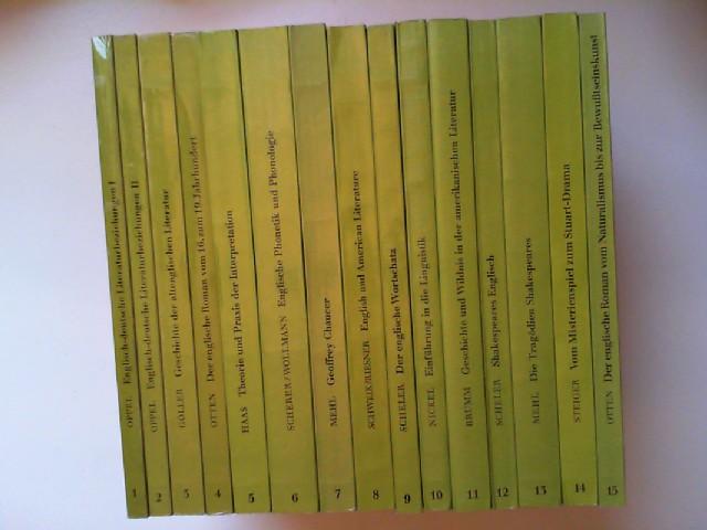 Oppel, Horst (1 & 2): Grundlagen der Anglistik und Amerikanistik - Band 1 bis 15 dieser Reihe zusammen (15 Bücher): 1 & 2) Englisch-deutsche Literaturbeziehungen I & II; 3) Geschichte der altenglischen Literatur; 4) Der englische Roman vom 16. zum 19. ...