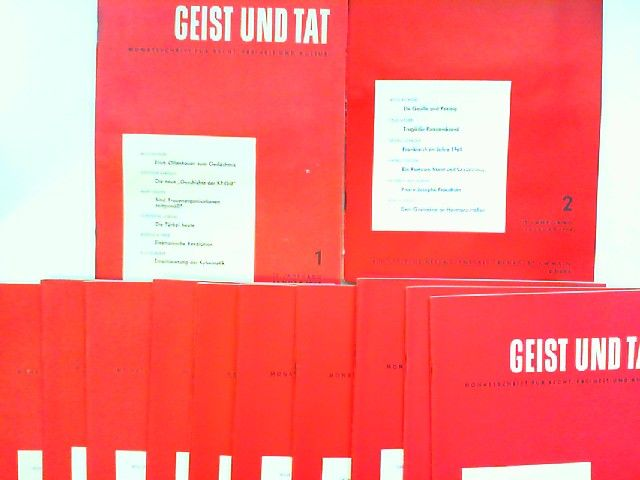 Eichler, Willi (Schriftleiter): Geist und Tat. Monatsschrift für Recht, Freiheit und Kultur - 19. Jahrgang 1964 vollständig 12 Hefte zusammen.
