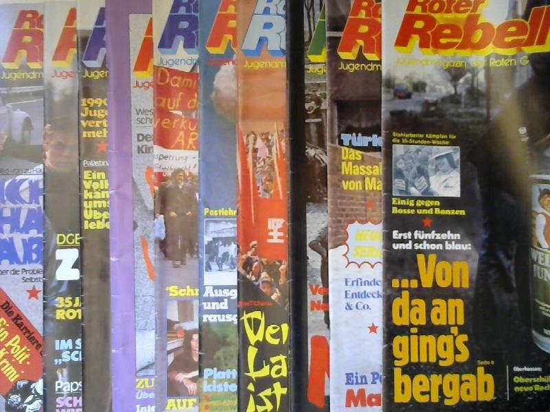 Zentralkomitee der Roten Garde (Hg.) und Norbert Taufertshöfer (Red.): Roter Rebell. Jugendmagazin der Roten Garde - Jahrgang 1979 fast vollständig bis auf Heft 9, zehn Hefte zusammen.