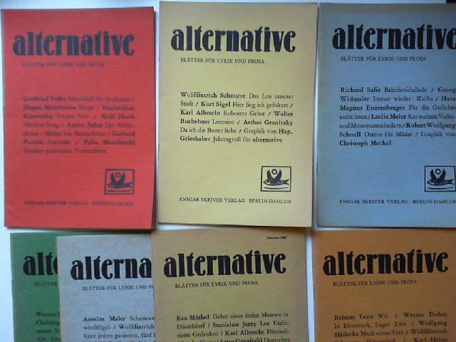 Lenz, Reimar und Richard Salis (Hg.): alternative - Blätter für Lyrik und Prosa. Konvolut mit 7 Ausgaben aus den ersten drei Jahrgängen. Enthält: Nr. 2/Oktober 1958; 3/Dezember 1958; 4/Februar 1959; 5/April 1959; 6/Juni 1959; 7/August 1959; 10/Februar ...