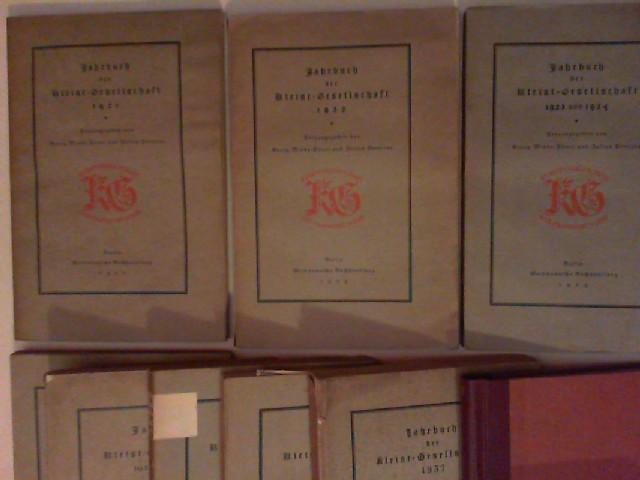 Minde-Pouet, Georg, Julius Petersen und Oskar Walzel (Hg.): Jahrbuch der Kleist-Gesellschaft - komplette Sammlung aller bis 1945 erschienen Ausgaben (9 Bücher). 1) 1921; 2) 1922; 3) 1923 und 1924; 4) 1925 und 1926; 5) 1927 und 1928; 6) 1929 und 1930; 7...