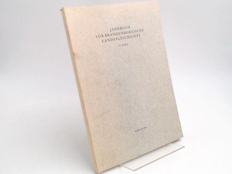 Eckart, Henning (Hg.) und Werner Vogel (Hg.): Jahrbuch für Brandenburgische Landesgeschichte. 37. Band 1986.
